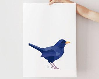 Blackbird print, Blackbird illustration, Nature art, Nature gift, Wildlife art, Backyard birds art, English birds, Bird art, Minimal prints