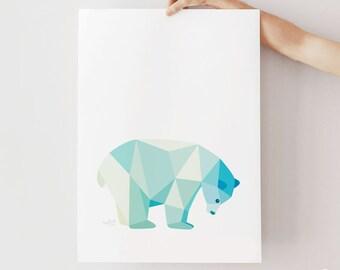Polar bear print, Polar bear illustration, Polar bear poster, Geometric polar bear, Pastel blue art, Polar bear nursery art, Arctic wildlife