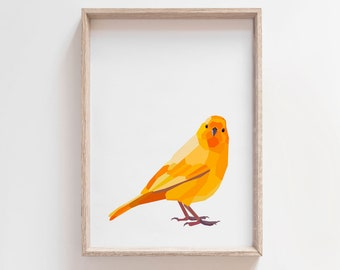 Canary print, Canary illustration, Bird wall art, Yellow canary art, Charley harper art, Modern animal art, Yellow print, Nature gift, Birds