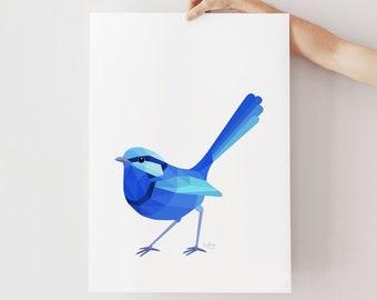 Blue wren illustration, Fairy wren print, Superb wren art, Geometric wren, Australian wildlife, Blue, Australian bird art, Ornithology art