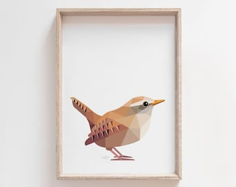 Wren print, Wren art, Wren illustration, Brown wren, Zaunkönig, Cute wren art, Bird art, Bird illustration, Wildlife art, Nature art, Art