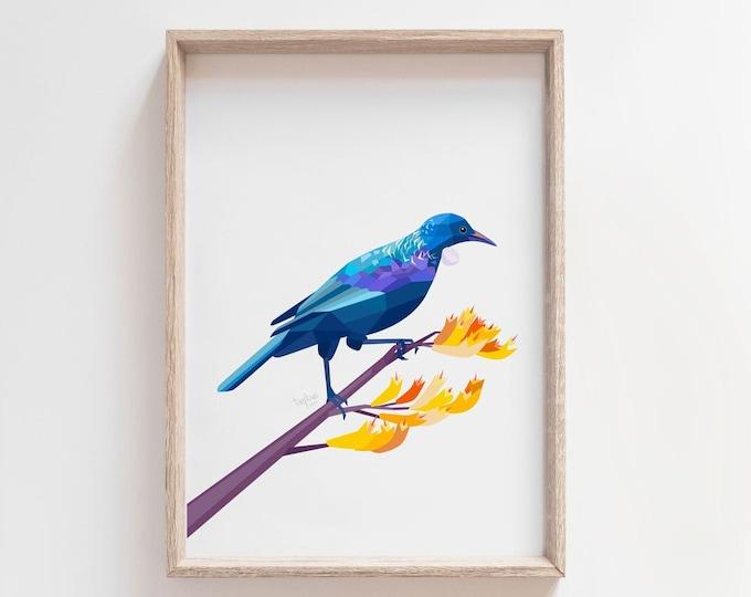 Featured listing image: Tui print, New Zealand bird, Kiwiana, Kiwi art, Kiwi illustration, Bellbird art, Tui print, tinykiwi, Native nz birds, New Zealand gift