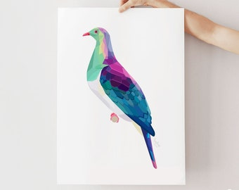 New Zealand art, Kereru print, Kereru painting, New Zealand kereru, Kereru art, Kiwi art, New Zealand birds, Kiwiana, Kereru illustration