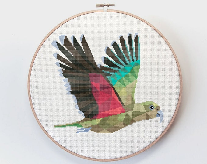 Featured listing image: Cross stitch pattern, Kea cross stitch, New Zealand cross stitch, Cross stitch PDF, Kiwi art, Modern cross stitch, Kiwiana art, Kea gift