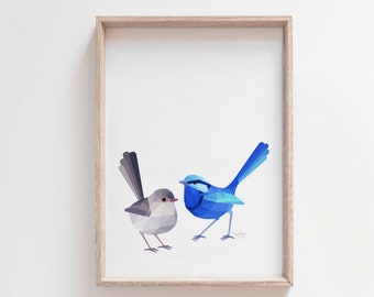 Wren print, Wren pair art, Wren illustration, Bird pair, Bird couple, Blue wren, Fairy wren art, Blue wren pair, Australian wren, Wren