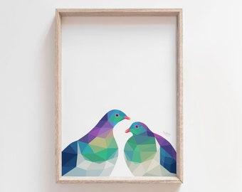 New Zealand kereru pair, Kereru print, Kereru art, New Zealand bird, Kiwi bird art, New Zealand art, Kiwi wall art, Kiwi home decor, Kereru
