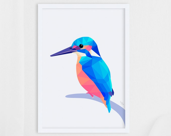 Featured listing image: Kingfisher print, Kingfisher illustration, Kingfisher art, Geometric kingfisher, Bird wall art, Scandinavian style, Minimalist wall art