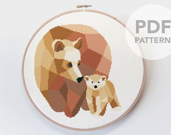 Bear cross stitch art, Bear, Baby bear art, Bear embroidery, PDF cross stitch, Geometric bears, Digital cross stitch, Minimal cross stitch