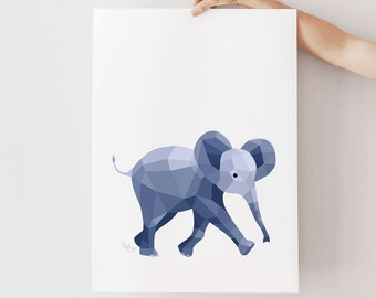 Elephant print, Baby elephant art, Nursery elephant print, Nursery prints, Baby art, Elephant illustration, Animal art, Nursery art, Cute