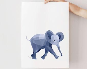 Elephant print, Baby elephant art, Nursery elephant print, Nursery prints, Baby art, Elephant illustration, Animal art, Nursery art, Cute