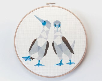 Blue-footed booby, Blue footed booby cross stitch, Cross stitch pattern, Funny cross stitch, Modern cross stitch, Romantic cross stitch art