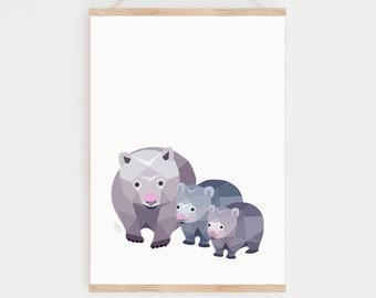 Wombat nursery art, Wombat baby print, Australian animal, Mother and baby wombat, Baby animal art, Wombat baby, Wombat family, Animal family
