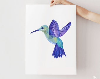 Hummingbird print, Hummingbird nursery print, Hummingbird illustration, Bird art, Bird in flight, Bird print, Amazon animals, Bird wall art