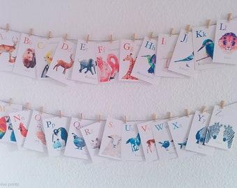 Alphabet wall art, ABC decor, Alphabet art set, Animal alphabet prints, Nursery ABC art, Baby nursery alphabet, Minimal abc, Baby abc art