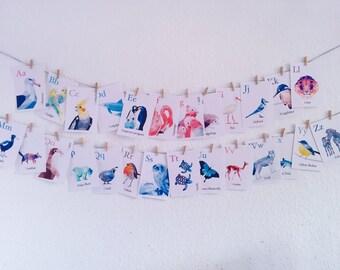 Alphabet wall art, ABC prints, Alphabet decor, Alphabet letter art, Animal alphabet, Alphabet nursery art, Playroom abc art, Geometric art