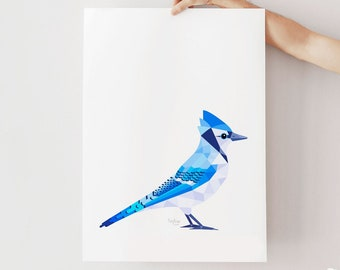 Blue jay print, Blue jay art, Blue jay gift, Blue jay illustration, Bird art, Wildlife art, Nature wall art, American wildlife art, Modern