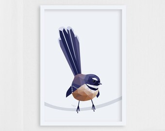 Fantail art, Piwakawaka art, Fantail print, New Zealand fantail, New Zealand art, Kiwi birds, Kiwi art, New Zealand wildlife, Kiwiana art
