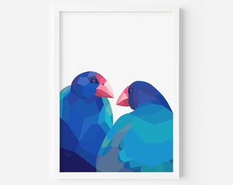 Takahe Print | Takahe Pair | Zealandia Art | New Zealand Birds | New Zealand Artist | Kiwi Art | New Zealand Gift | New Zealand Wildlife Art