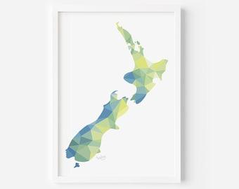 New Zealand Map Print | Aotearoa Map | New Zealand Map Art | New Zealand Art | Kiwiana Art | New Zealand Home | Kiwi Gift | Kiwi Artist