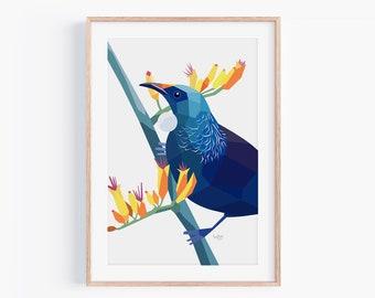 Tui Print | New Zealand Birds | New Zealand Artist | Kiwiana Art | New Zealand Gift | Wildlife Illustration | Minimal Art | Kiwi Decor