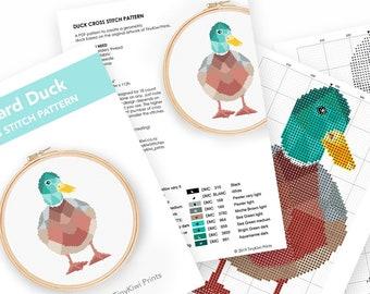 Cross stitch pattern, Cross stitch pattern PDF, Duck cross stitch pattern, Geometric cross stitch, Easy cross stitch pdf, Nursery