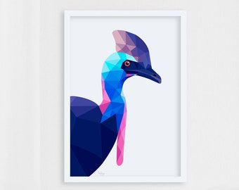 Cassowary print, Cassowary illustration, Cassowary poster, Cassowary art, Australian birds, Australian wildlife, Australian art, Australia