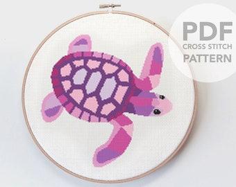 Cross stitch art, Turtle cross stitch pattern, Animal cross stitch pattern, Instant cross stitch pattern, Geometric cross stitch, Turtle art