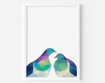 Kereru Print | New Zealand Print | Kereru Art | New Zealand Artist | New Zealand Interior Decor | Kiwi Style | Love Birds | Bird Pair Art