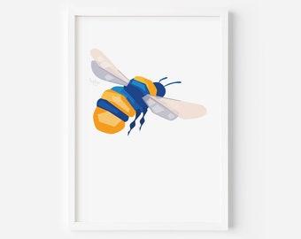 Bumblebee Print   Geometric Bee   Bee Print   Insect Art   Bee Illustration   Bee Art   Bumblebee Art   Garden Art   Garden Wildlife Art