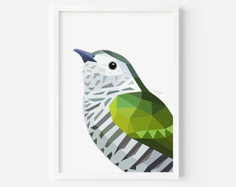 Shining Cuckoo Print | New Zealand Cuckoo | Pipiwharauroa | Kiwi Art | New Zealand Art | Kiwi Painting | New Zealand Birds | Bird Art