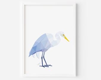 White Heron Print | New Zealand Print | New Zealand Heron | Kotuku Art | Kiwi Art | Kiwiana Art | Native New Zealand Birds | White Heron