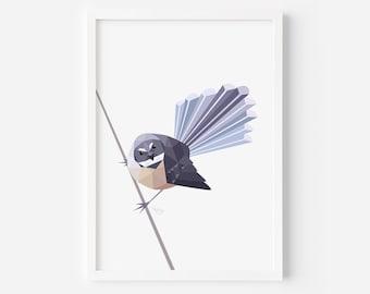 Fantail print | Fantail Illustration | Fantail Painting | Piwakawaka | New Zealand Cards | New Zealand Art | New Zealand Interior Decor