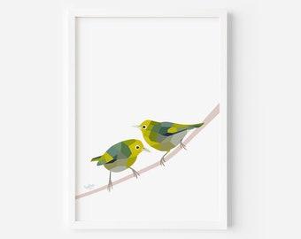 Silvereye Print | Waxeye | Tauhou | New Zealand Birds | New Zealand Art | Kiwi Artist | New Zealand Garden | Kiwi Wildlife | Bird Prints