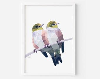Waxeye Print | Silvereye Art | Tauhou | New Zealand Birds | New Zealand Decor | Kiwi | New Zealand Cards | Bird Pair | Love Birds | Cute Art
