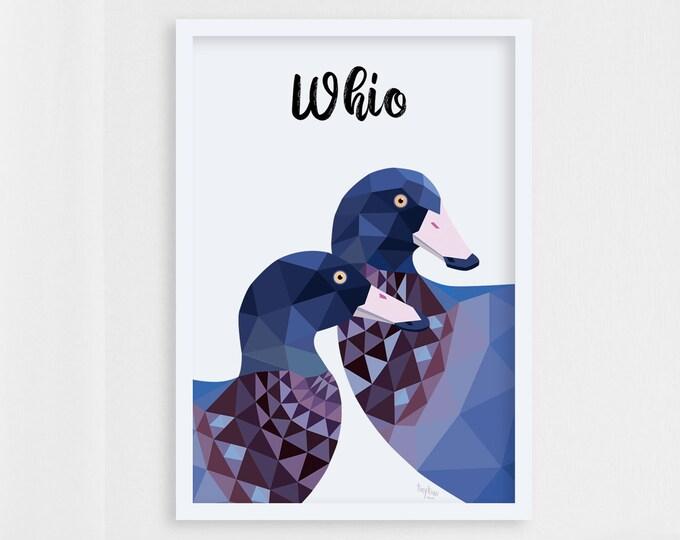 Featured listing image: New Zealand bird art, Whio art, Blue duck print, New Zealand duck, Kiwiana art, NZ artist, New Zealand gift, New Zealand wildlife, Duck pair