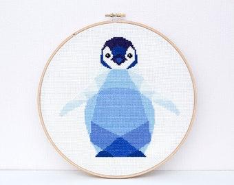 Cross stitch pattern, Penguin baby cross stitch, Cross stitch PDF, Baby cross stitch, Baby shower gift, Nursery cross stitch, Cute penguin