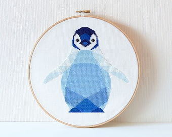 Cross stitch pattern, Penguin cross stitch, Modern embroidery, Geometric penguin, Cross stitch PDF, Nursery cross stitch, Easy cross stitch