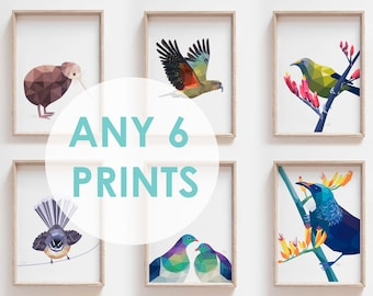 Print set, 6 prints, Any 6 prints, Print set, Geometric prints, Nursery prints, New Zealand art, New Zealand prints, Kiwi print, Tui art
