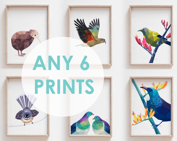 Featured listing image: Set of 6 A4 prints, Any 6 prints, Print set, Animal art, Bulk art, Nursery art set, New Zealand art, Kiwiana, Geometric art, Modern wall art