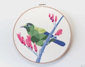 Cross stitch pattern, Geometric cross stitch, New Zealand cross stitch art, Bellbird cross stitch pdf, Easy cross stitch, Kiwi cross stitch