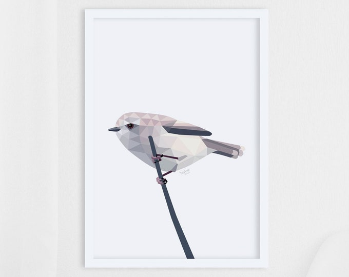Featured listing image: New Zealand print, Grey warbler art, New Zealand art, New Zealand birds, Kiwi wall art, New Zealand gift, Kiwi print, Birds of New Zealand