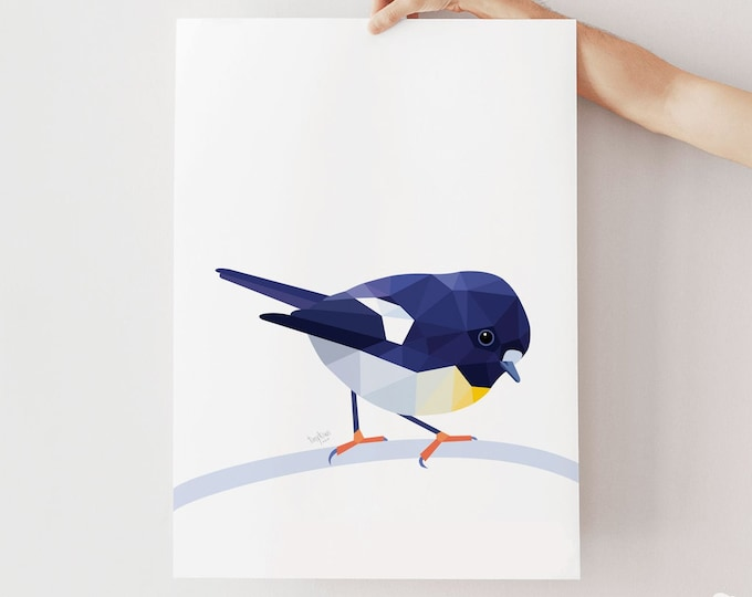 Featured listing image: Tomtit illustration, New Zealand tomtit print, Tomtit art, New Zealand art, New Zealand native birds, Kiwiana bird art, New Zealand painting