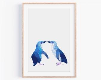 Little Blue Penguin Print   Penguin Illustration   Penguin Art   New Zealand Penguin   Kiwi Art   New Zealand Birds   Kiwiana   Penguin Pair