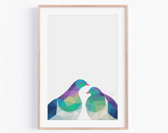 New Zealand print, Kereru print, Kereru art, New Zealand bird, Kiwi bird art, New Zealand art, Kiwi art, Kiwi home decor, Kereru painting