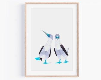 Blue-Footed Booby Print | Blue Footed Booby Pair Art | Galapagos Wildlife | Bird Pair | Bird Couple | Animal Pair | Love Birds | Cute Birds