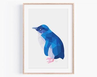 Blue Penguin Print | Little Blue Penguin | Penguin Art | Penguin Illustration |New Zealand Penguin | Kiwi Art | New Zealand Birds | Kiwiana
