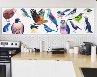 Kitchen splash back design, New Zealand birds, New Zealand art, Tui print, Kiwiana art, Kitchen decor, New Zealand design, Kereru, Bellbird