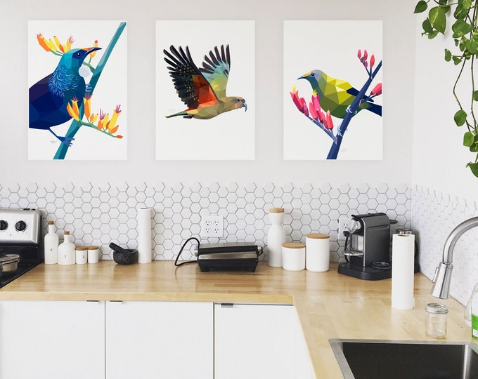 Featured listing image: Print set, 3 x A4 prints, Print set, Geometric bird art, New Zealand art, Art sale, Bulk art, Minimal decor, Wall art, Kiwiana art, Birds
