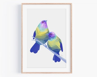 Bellbird Print | Bellbird Art | Native New Zealand Birds | New Zealand Art | New Zealand Wildlife | Kiwiana Art | Korimako | Bird Pair