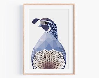 Quail Print | Quail Illustration | Bird Art | Quail Decor | Geometric Quail | Wildlife Art | Quail Decor | Quail Painting | New Zealand Bird